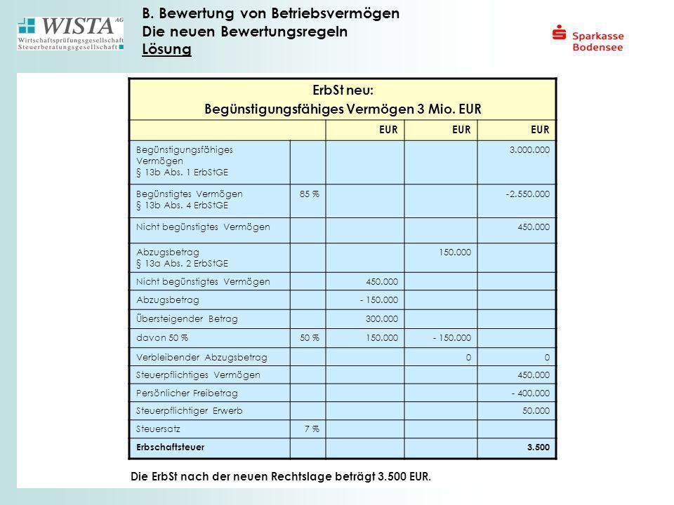 Begünstigungsfähiges Vermögen 3 Mio. EUR