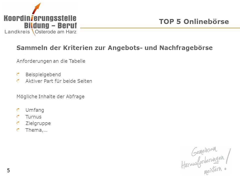 TOP 5 OnlinebörseSammeln der Kriterien zur Angebots- und Nachfragebörse. Anforderungen an die Tabelle.
