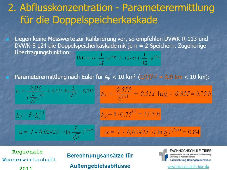 2. Abflusskonzentration - Parameterermittlung für die Doppelspeicherkaskade