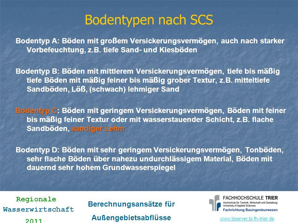 Bodentypen nach SCS Bodentyp A: Böden mit großem Versickerungsvermögen, auch nach starker Vorbefeuchtung, z.B. tiefe Sand- und Kiesböden.