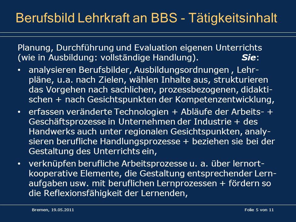 Berufsbild Lehrkraft an BBS - Tätigkeitsinhalt