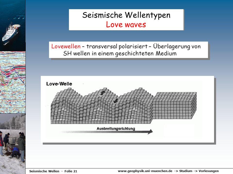 Seismische Wellentypen Love waves