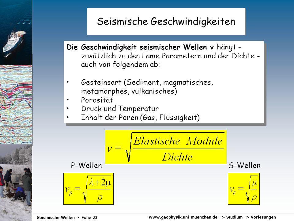 Seismische Geschwindigkeiten