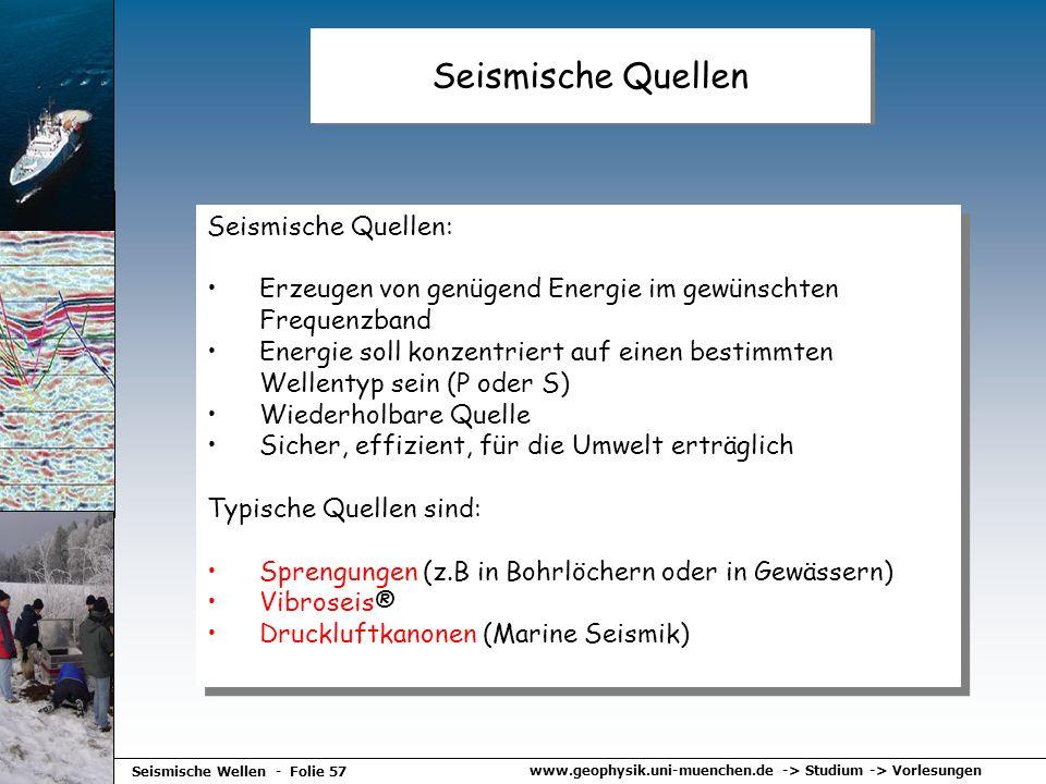 Seismische Quellen Seismische Quellen: