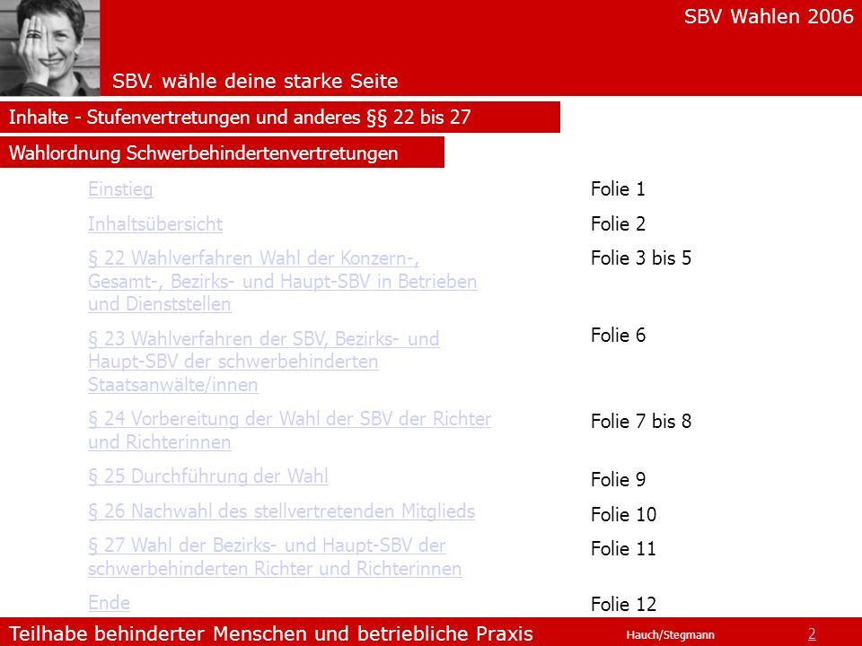 Inhalte - Stufenvertretungen und anderes §§ 22 bis 27