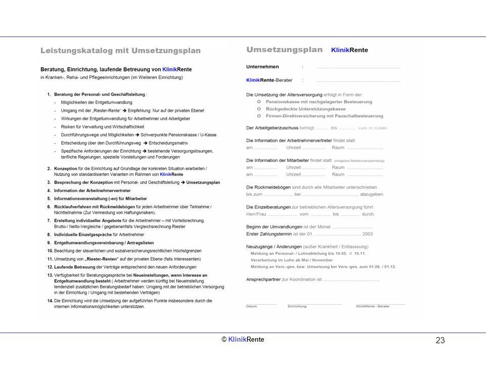 Leistungskatalog mit Umsetzungsplan