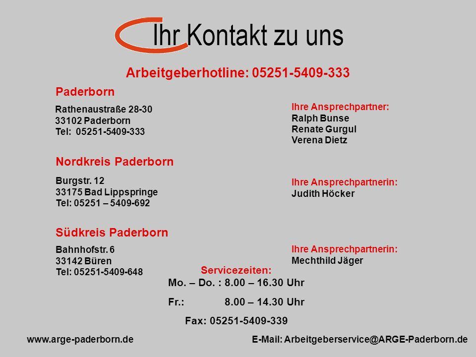 Arbeitgeberhotline: 05251-5409-333