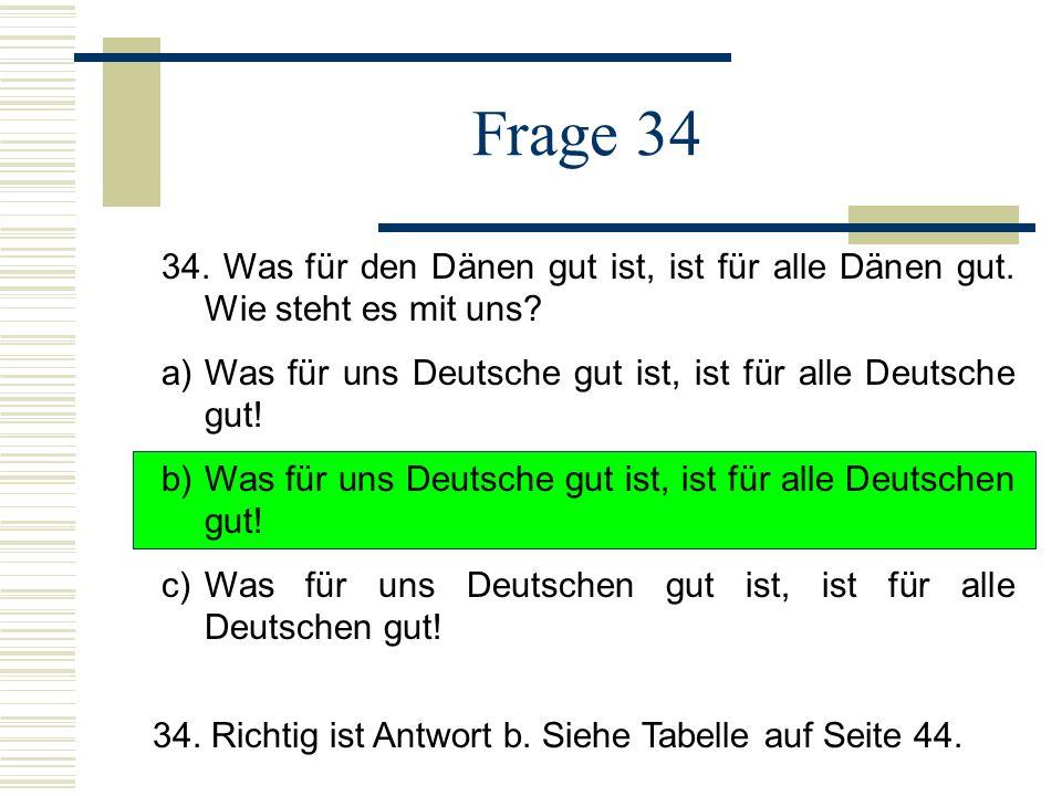 Frage 34 34. Was für den Dänen gut ist, ist für alle Dänen gut. Wie steht es mit uns a) Was für uns Deutsche gut ist, ist für alle Deutsche gut!