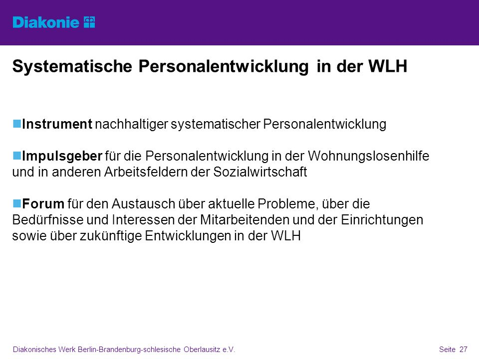 Systematische Personalentwicklung in der WLH