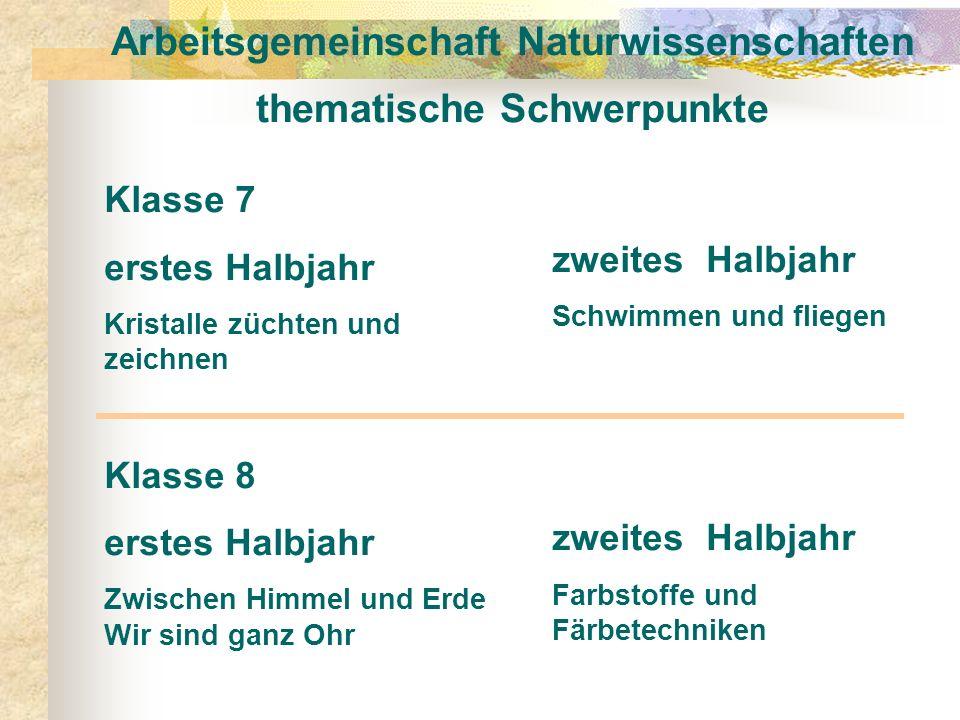 Arbeitsgemeinschaft Naturwissenschaften thematische Schwerpunkte