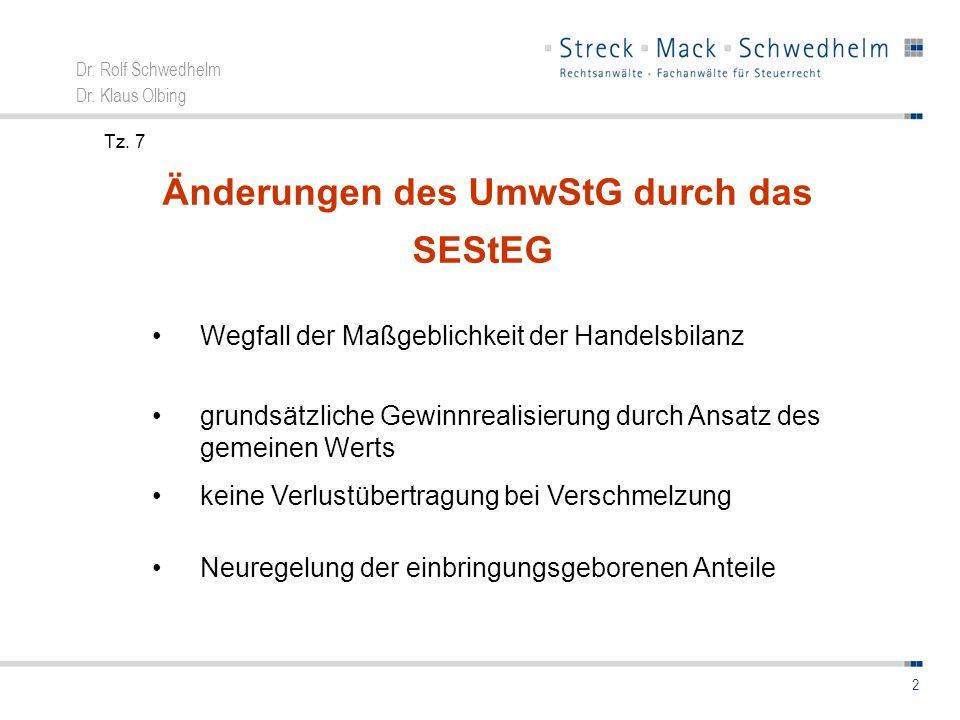 Änderungen des UmwStG durch das SEStEG
