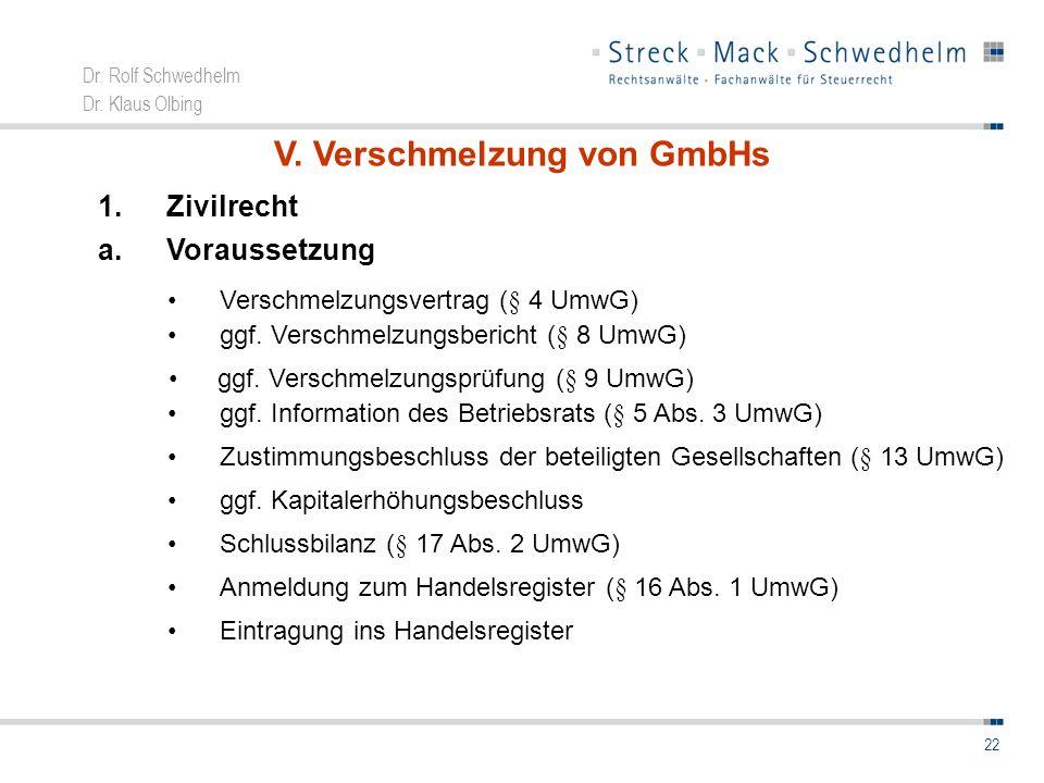 V. Verschmelzung von GmbHs