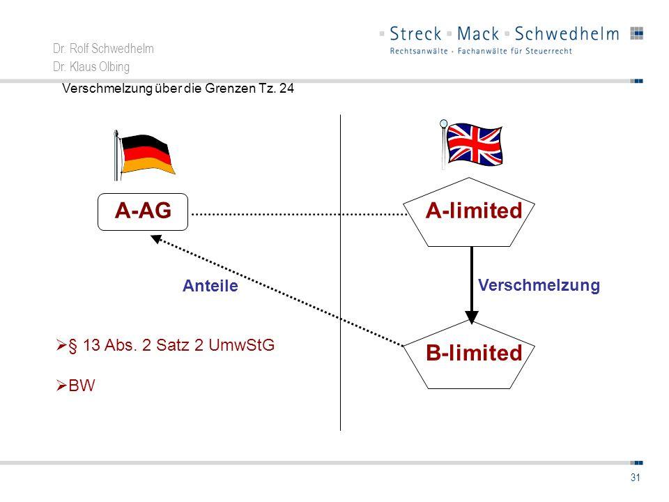 A-AG A-limited B-limited Anteile Verschmelzung