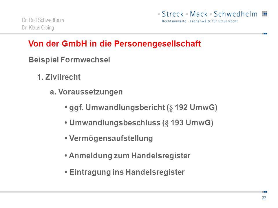 Von der GmbH in die Personengesellschaft
