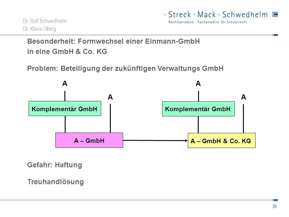 Besonderheit: Formwechsel einer Einmann-GmbH in eine GmbH & Co. KG