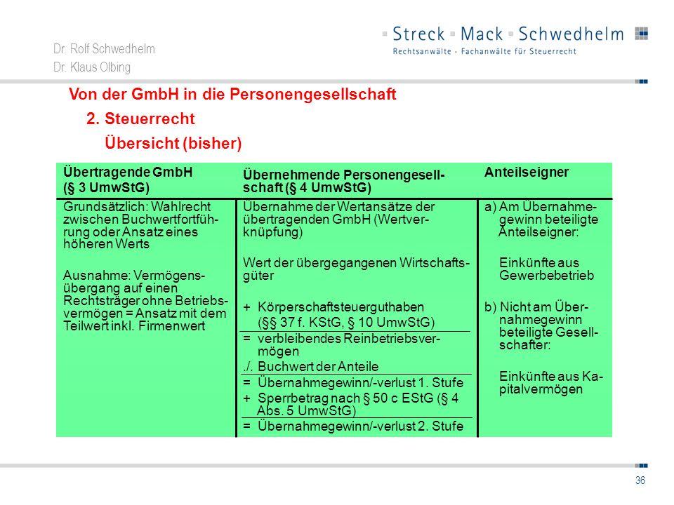 Von der GmbH in die Personengesellschaft 2. Steuerrecht