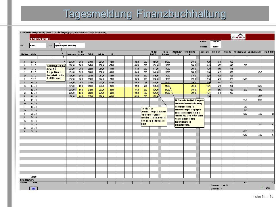 Tagesmeldung Finanzbuchhaltung