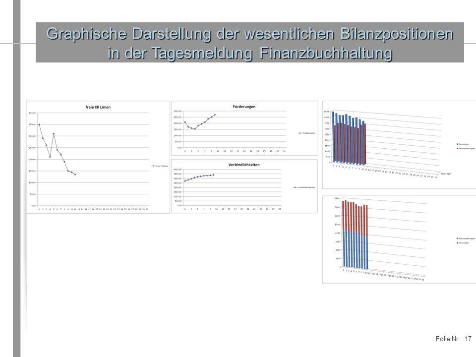 Graphische Darstellung der wesentlichen Bilanzpositionen in der Tagesmeldung Finanzbuchhaltung