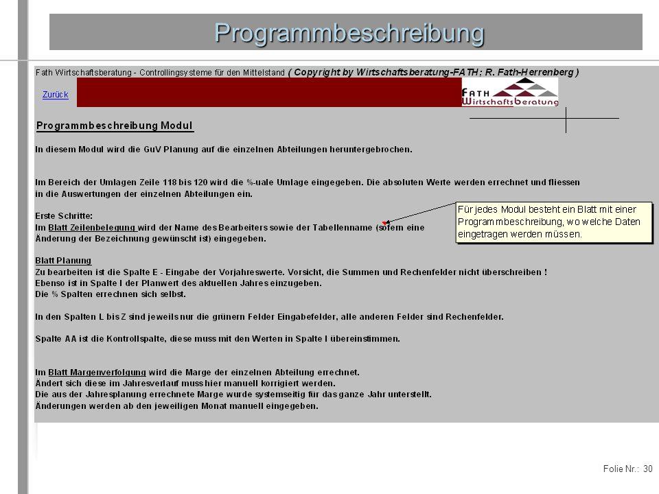 Programmbeschreibung