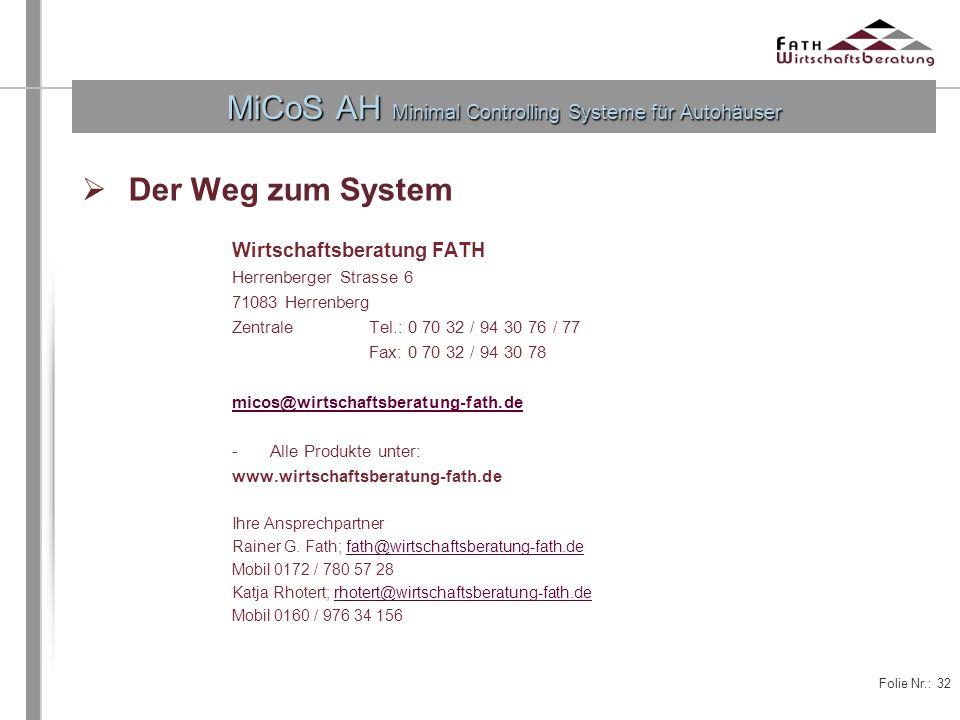 MiCoS AH Minimal Controlling Systeme für Autohäuser