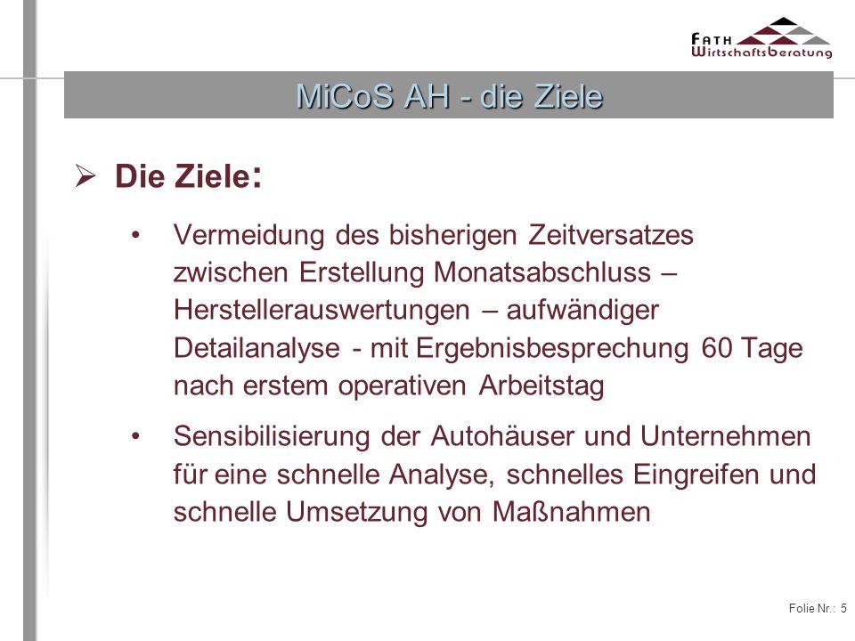 MiCoS AH - die Ziele Die Ziele:
