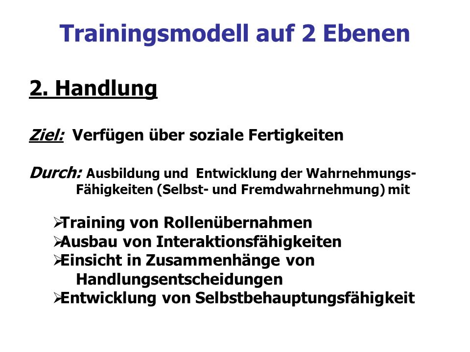 Trainingsmodell auf 2 Ebenen
