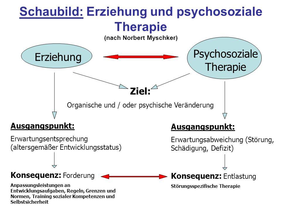 Schaubild: Erziehung und psychosoziale Therapie (nach Norbert Myschker)
