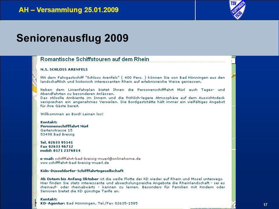 AH – Versammlung 25.01.2009 Seniorenausflug 2009