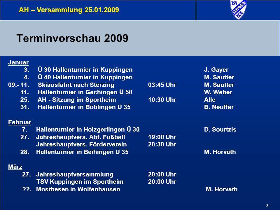Terminvorschau 2009 AH – Versammlung 25.01.2009 Januar