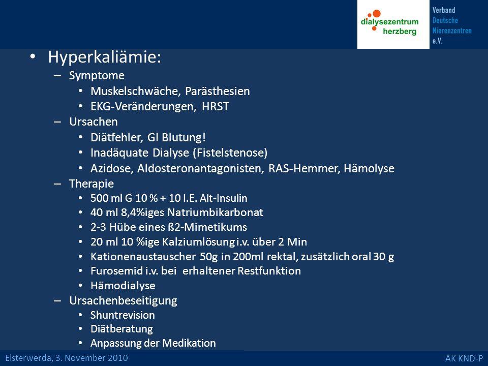 Hyperkaliämie: Symptome Muskelschwäche, Parästhesien