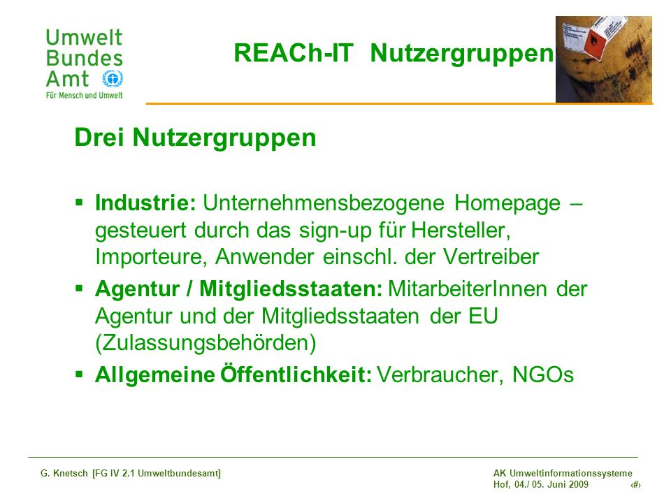 REACh-IT Nutzergruppen