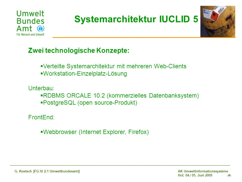 Systemarchitektur IUCLID 5
