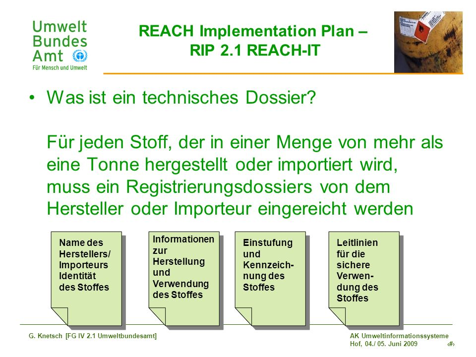 REACH Implementation Plan – RIP 2.1 REACH-IT