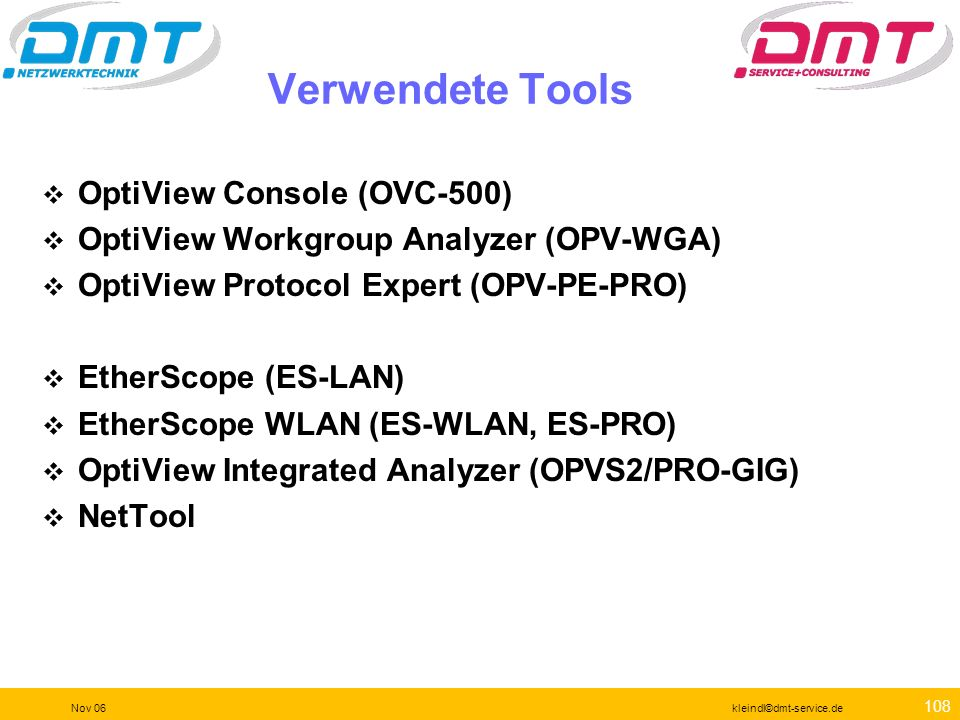 Verwendete Tools OptiView Console (OVC-500)