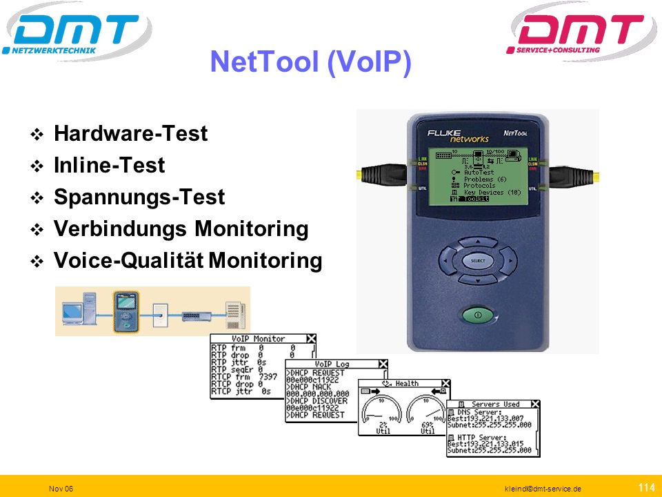 NetTool (VoIP) Hardware-Test Inline-Test Spannungs-Test