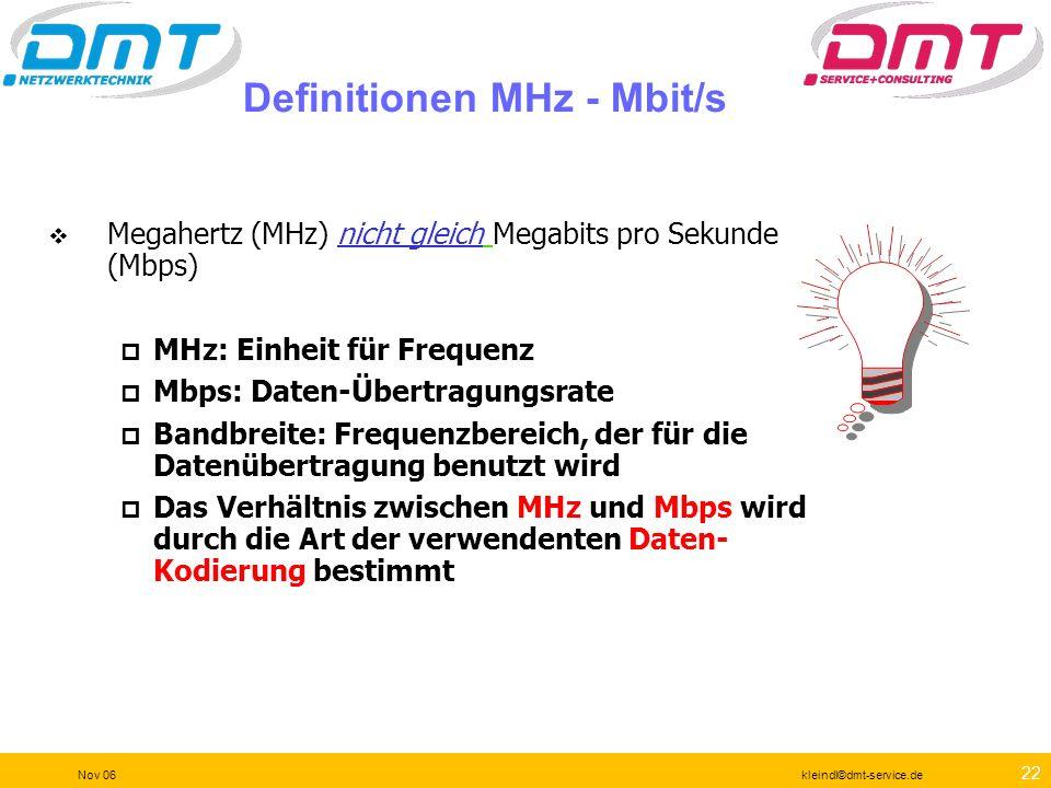 Definitionen MHz - Mbit/s