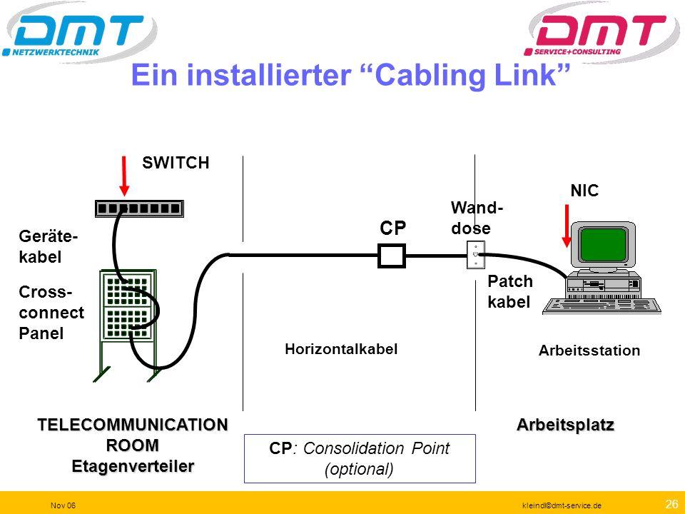 Ein installierter Cabling Link