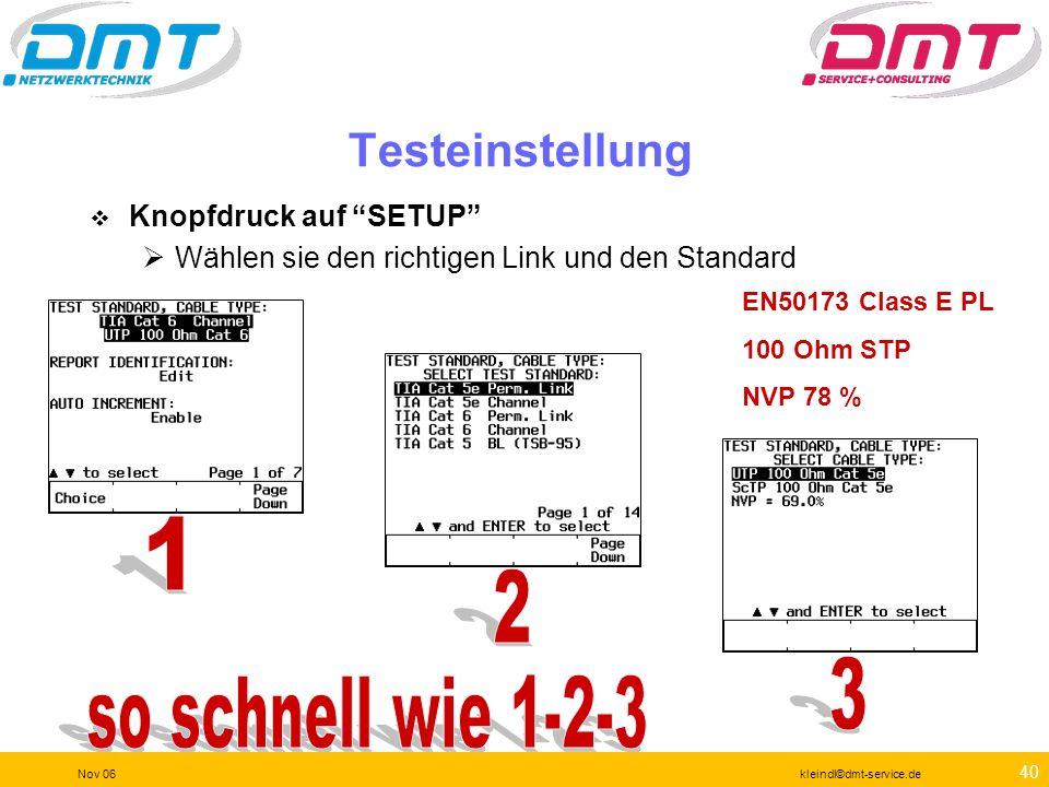 1 2 3 so schnell wie 1-2-3 Testeinstellung Knopfdruck auf SETUP
