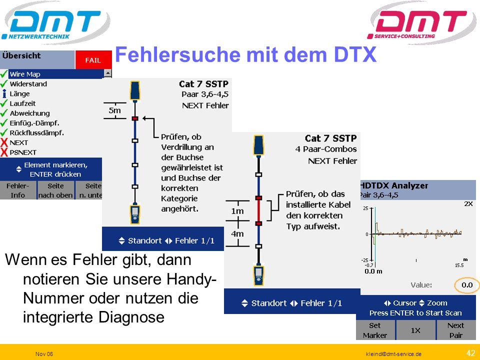 Fehlersuche mit dem DTX