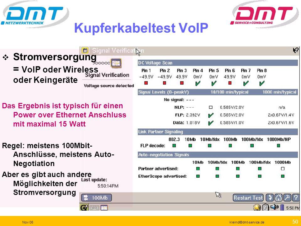 Kupferkabeltest VoIP Stromversorgung = VoIP oder Wireless oder Keingeräte.