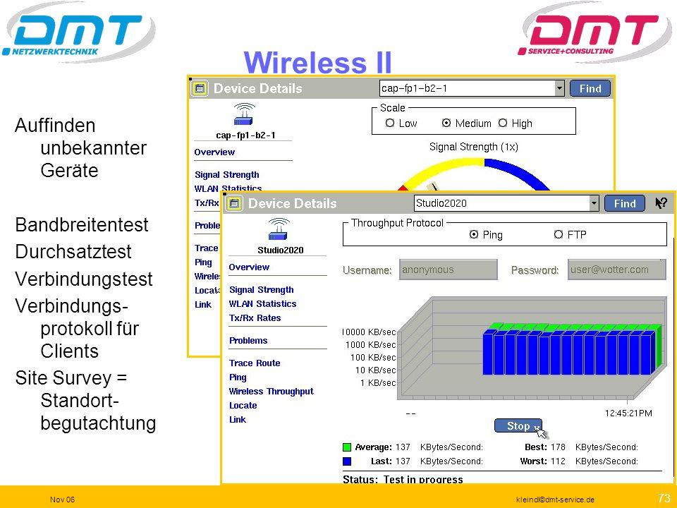 Wireless II Auffinden unbekannter Geräte Bandbreitentest Durchsatztest