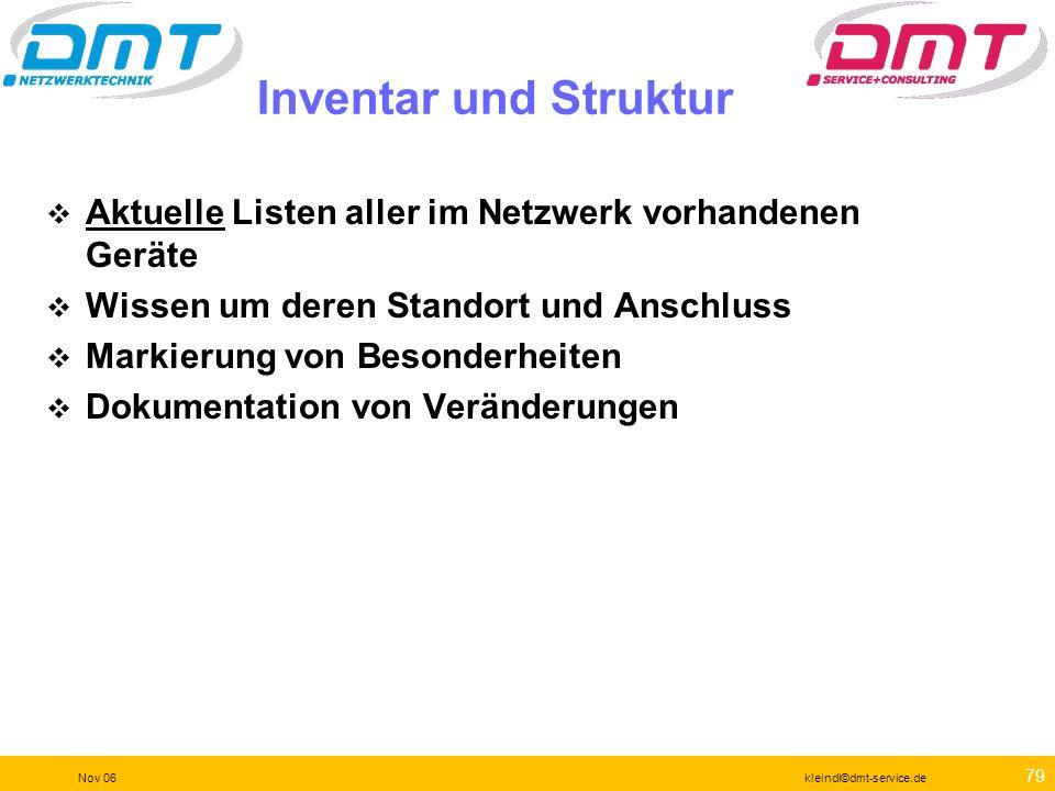 Inventar und Struktur Aktuelle Listen aller im Netzwerk vorhandenen Geräte. Wissen um deren Standort und Anschluss.