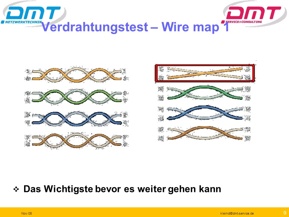 Verdrahtungstest – Wire map 1