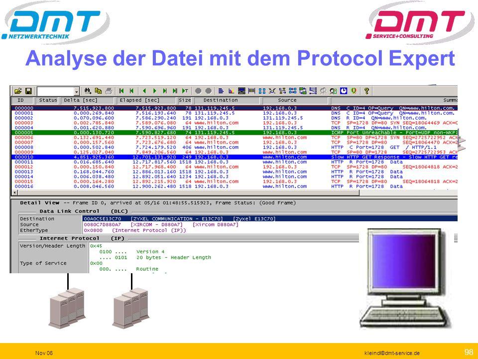 Analyse der Datei mit dem Protocol Expert