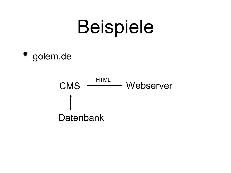 Beispiele golem.de HTML CMS Webserver Datenbank