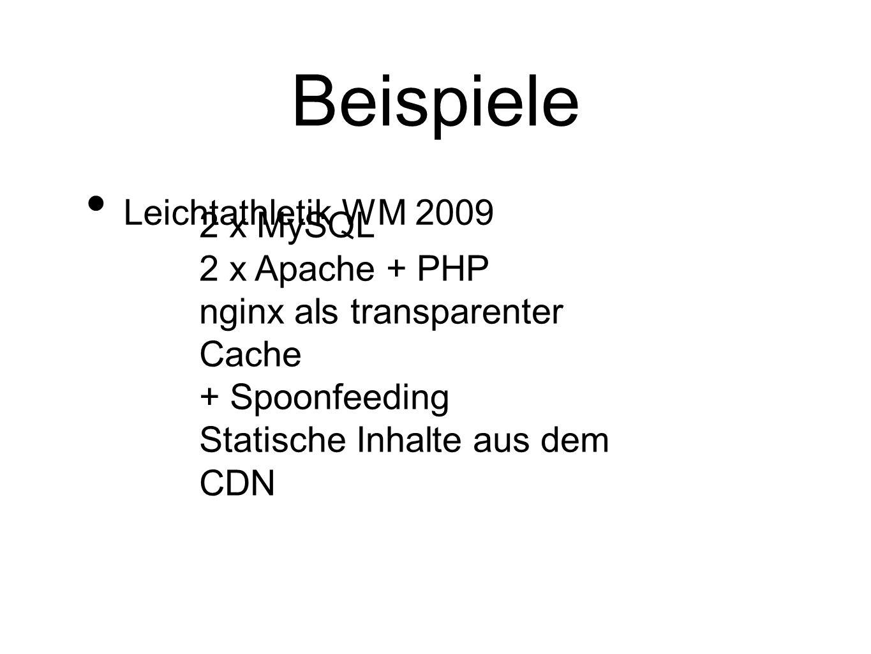 Beispiele Leichtathletik WM 2009 2 x MySQL 2 x Apache + PHP