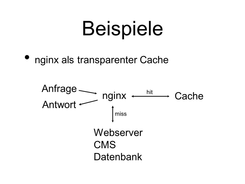 Beispiele nginx als transparenter Cache Anfrage nginx Cache Antwort