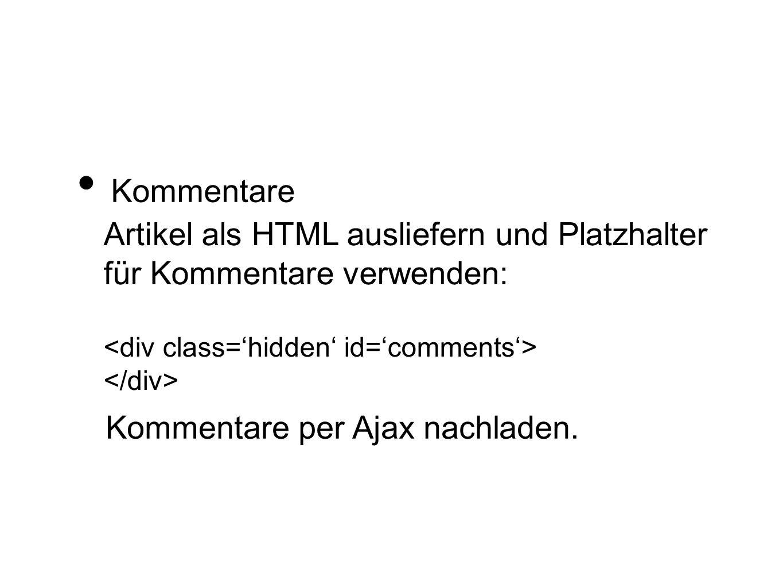 Artikel als HTML ausliefern und Platzhalter für Kommentare verwenden: