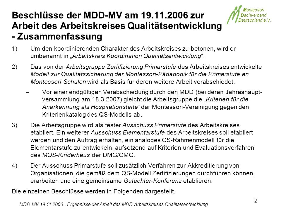 Beschlüsse der MDD-MV am 19. 11