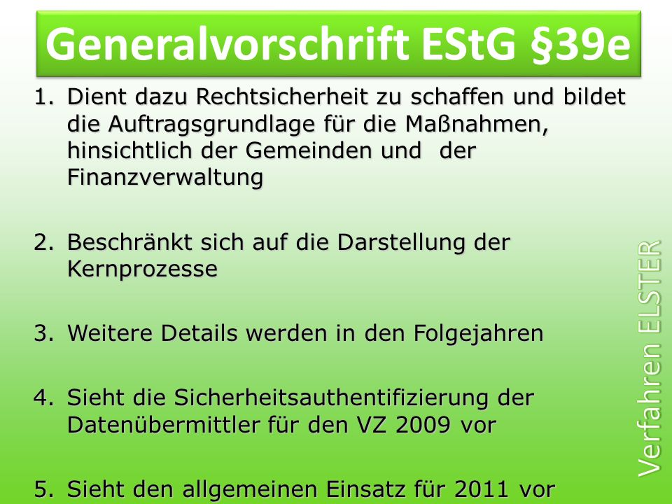 Generalvorschrift EStG §39e